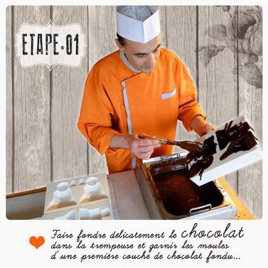 Etape une : faire fondre le chocolat dans la trempeuse