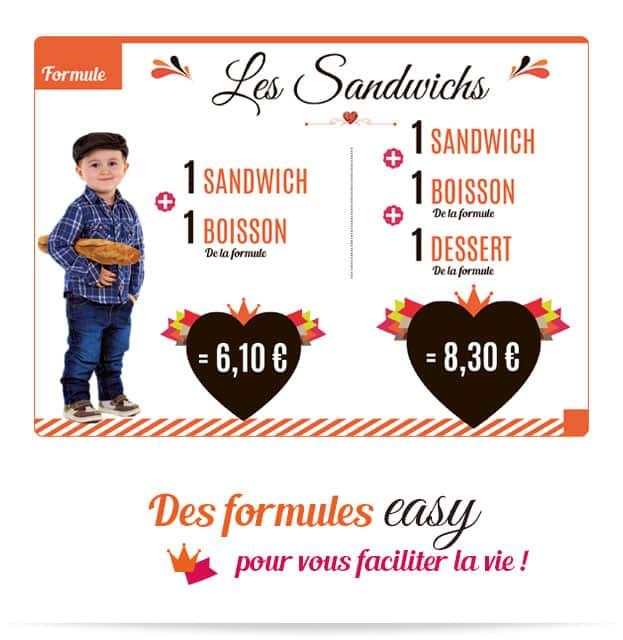 Notre formule easy Les Sandwichs