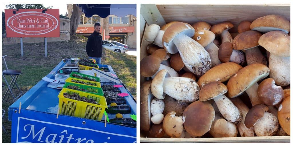 Vente d'huîtres et de cèpes devant la Boulangerie, tous les week-ends.